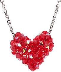 swarovski crystal red woven puffy heart