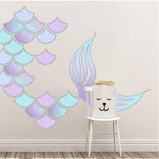 Picture Perfect Decals Mermaid Scales And Tail Reusable Wall Decals Pastel Rainbow
