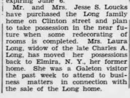 Jesse Loucks and Iva Long Loucks purchase Long Home on Clinton Street  Galeton Pa June 1944 - Newspapers.com