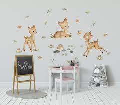 Deer Nursery Decal Woodland Wall Decal Girl Woodland Animal Wall Decal Kidscutedecorations