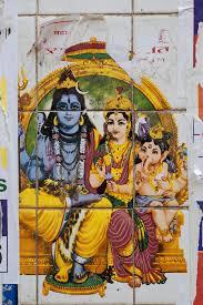 Old Wall Sticker Depicting Hindu Gods Goddesses By Rowena Naylor Stocksy United