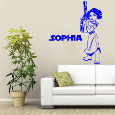 Star Wars Princess Leia With Personalized Name Vinyl Wall Decals Nursery Bedroom Home Decor Quote Wall Mural Cute Wallpapery 906 Wall Mural Home Decorwall Quotes Aliexpress