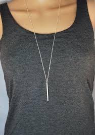 long vertical bar necklace silver bar