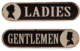 vintage style metal bathroom signs