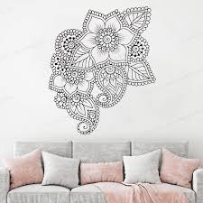 Abstract Flowers Mehndi Wall Vinyl Decal Henna Ornament Wall Sticker Indian Religions Home Decor Hj1031 Wall Stickers Aliexpress