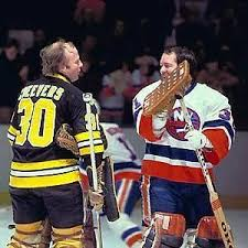 Gerry Cheevers & Billy Smith, part of the goalie brotherhood. :)