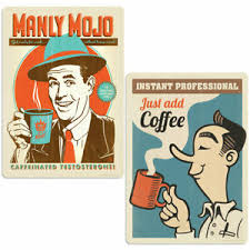 Manly Mojo Coffee Vinyl Sticker Set Of 2 Laptop Car Decals Ebay