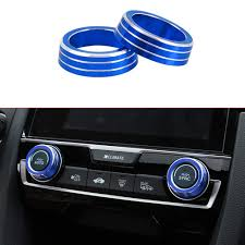 Replacement Parts Aluminum Audio Speaker Engine Ignition Air Condition Ac Switch Buttons Ring Sticker Decoration Trim For Honda Civic 10th Gen 2016 2019 Full Set Dashboards