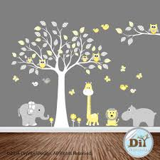 Yellow And Gray Jungle Animal Vinyl Tree Decal Baby Wall Decal Owl Themed Baby Wall Decals Owl Themed Nursery Vinyl Wall Art Nursery