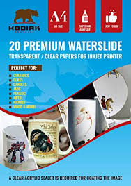 Amazon Com Kodiak Supplies A4 Waterslide Decal Paper Inkjet Clear 20 Sheets Diy A4 Water Slide Transfer Clear Printable Water Slide Decals A4 20 Sheets B07cz76391 Wsdp Office Products