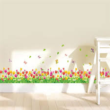 Colorful Tulip Flowers Fences Baseboard Wall Decals Home Decorative Stickers Adesivos De Paredes Living Bedroom 3d Wall Art 053 3d Wall Art Wall Arthome Decor Stickers Aliexpress