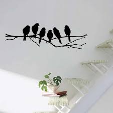 Birds On The Tree Branch Wall Sticker For Living Room Wall Decals For Art Stickers Home Decoration Murals Removable A 146 Mural Sticker Wall Muralbird On Branch Aliexpress