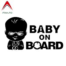 Aliauto Safety Sign Car Sticker Baby On Board Cute Boss Baby Auto Styling Funny Vinyl Decal Cover Scratches Waterproof 18cm 11cm Car Stickers Aliexpress