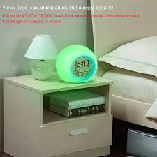 Peroptimist Alarm Clock For Kids Bedroom Wake Up Light Digital Clock With Indoor Temperature Calendar 7 Colors Changing Light Walmart Com Walmart Com