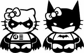 Batman Robin Hello Kitty Vinyl Decal Car Bumper