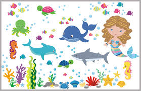 Marine Life Wall Decals Oceanic Wall Stickers Aquarium Wall Decals Nurserydecals4you