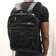 black leather backpack men