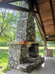 river rock fireplace hovander park