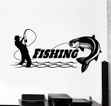 Vinyl Wall Decal Fishing Club Catch Fish Rod Fisherman Store Stickers Wallstickers4you