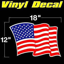 American Waving Us Flag Large Usa Durable Vinyl Decal Sticker 18 X12 Graphic Ebay