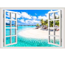 Amazon Com Amtoodopin 3d Beach Seascape Fake Windows Wall Stickers Removable Faux Windows Wall Decal Landscape Wall Decor For Livingroom Bedroom Beach Seascape Home Kitchen