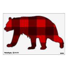 Red Black Plaid Bear Wall Decal Zazzle Com