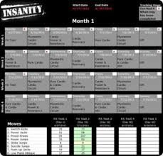 insanity workout schedule pdf