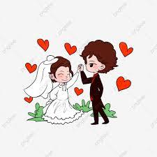 عروس و عريس كرتون مرسومة باليد حفل زواج Png وملف Psd للتحميل مجانا