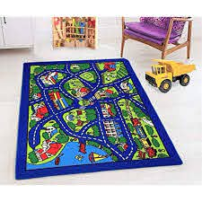 Kids Car Road Rugs City Map Play Mat For Classroom Baby Room Non Slip Rubber Back Walmart Com Walmart Com