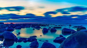 المحيط البحر الأحجار الهدوء الشاطئ غروب الشمس بحر البلطيق