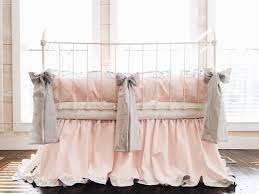 pink and gray ruffle crib bedding set