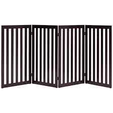 Folding 4 Panel Dog Gate Pet Fence In Brown Wood Finish Fastfurnishings Com
