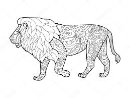 Adult Coloring Book Lion Lion Coloring Book For Adults Vector