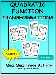 quadratic function transformations quiz