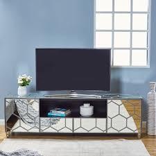 honey 2 drawer tv unit silver mirror