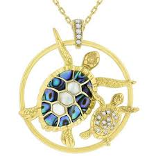mother and child sea turtle pendant