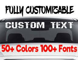 Custom Windshield Decals Word And Number Car Truck Window Etsy