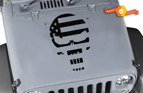 Product 23 X 16 5 Jeep Wrangler Punisher American Flag Usa Vinyl Hood Decal Jk Lj Tj