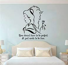 Amazon Com Enidgunter Beauty And The Beast Wall Decal Romantic Vinyl Wall Sticker Bedroom Living Room Decor Lover Gift Removable Movie 57x67cm Home Kitchen