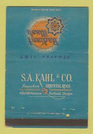 matchbook cover sa kahl oriental rugs
