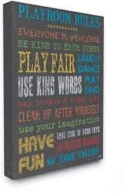Amazon Com The Kids Room By Stupell Rainbow Chalkboard Playroom Rules Canvas Wall Art Baby