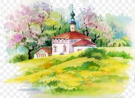 watercolor painting house ilration
