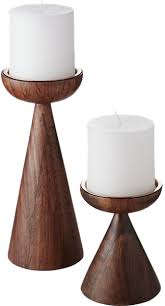 baltic pillar candle holders set of 2