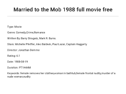 Married to the Mob 1988 full movie free