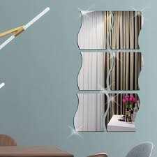 Eeekit 6pcs 3d Wave Shape Mirror Wall Sticker Art Diy Home Decoration Wall Decals Removable Acrylic Mirror Sheets For Children S Room Living Room Bathroom Bedroom Sofa Tv Wall Decoration 4 7 X3 9 Walmart Com