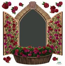 Chalkboard Wall Mural Decal Of Castle Window With Rose Wall Decals
