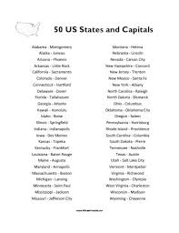 50 states and capitals list free