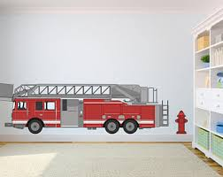 Firetruck Wall Decal Etsy