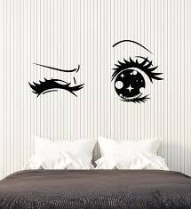 Vinyl Wall Decal Anime Cartoon Eyes Wink Teen Girl Room Art Stickers M Wallstickers4you
