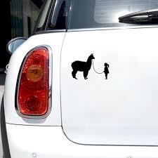 14cm 10cm Funny Girl Walking Alpaca Car Styling Car Window Sticker Decal Viny Wish